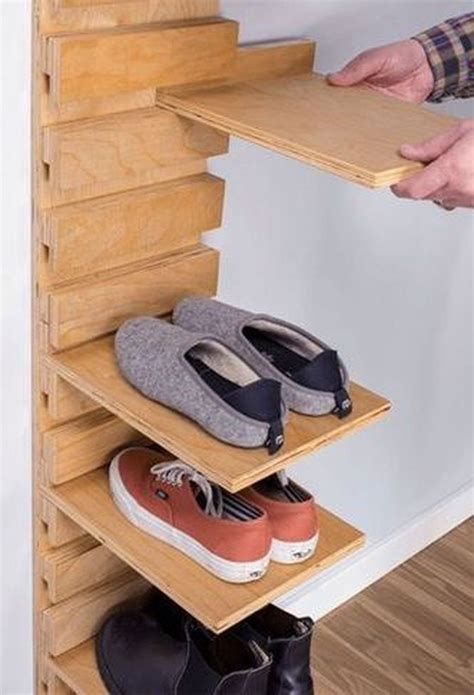 Diy Dowel Wood Shoe Shelving Wall