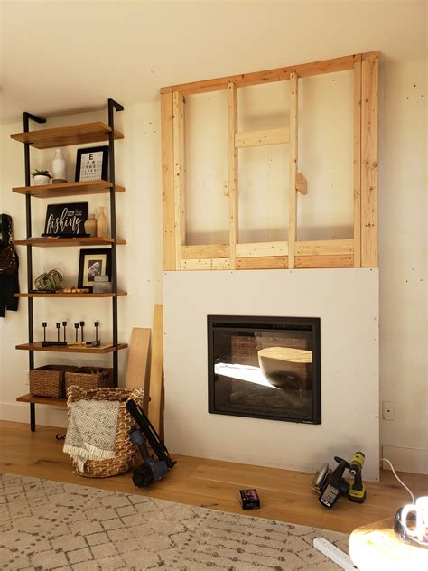 Diy Electric Fireplace Framed In Front Of Wall
