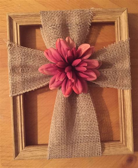 Diy Fabric Cross On Picture Frame