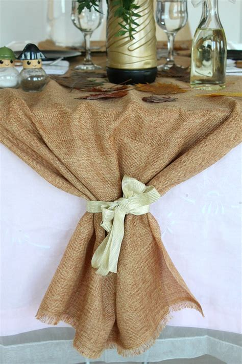 Diy Fall Burlap Table Runner With Ribbon