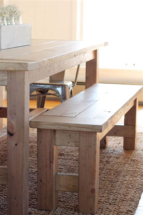 Diy Farmhouse Table Bench With Back