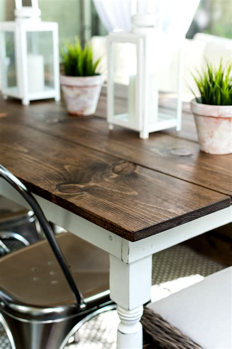 Diy Farmhouse Table Stain And Paint