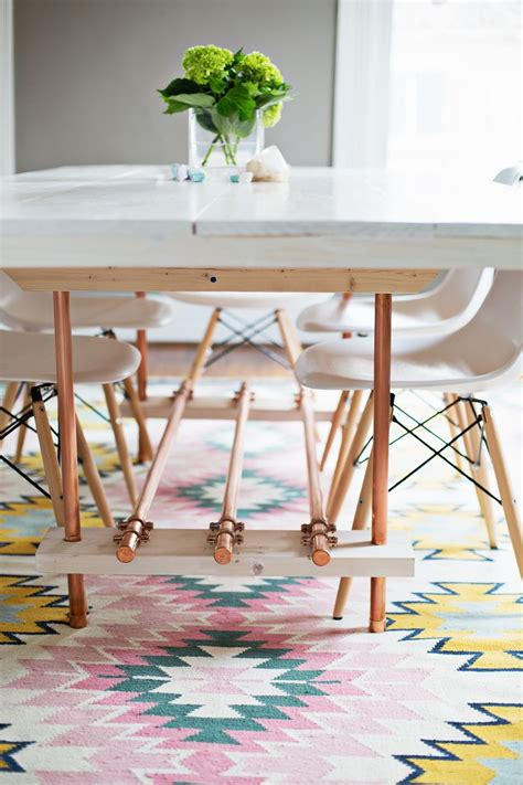 Diy Farmhouse Table With Copper Pipe Legs