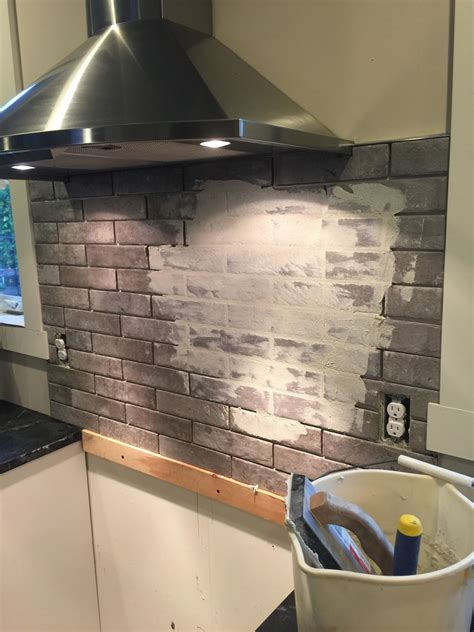 Diy Faux Brick Kitchen