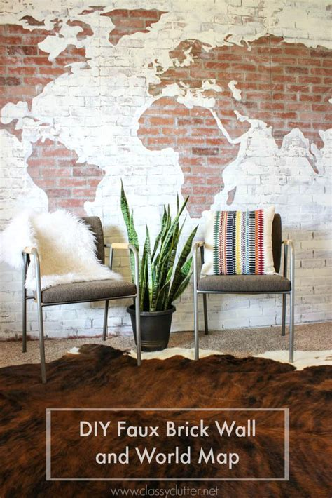 Diy Faux Brick Wall And Map