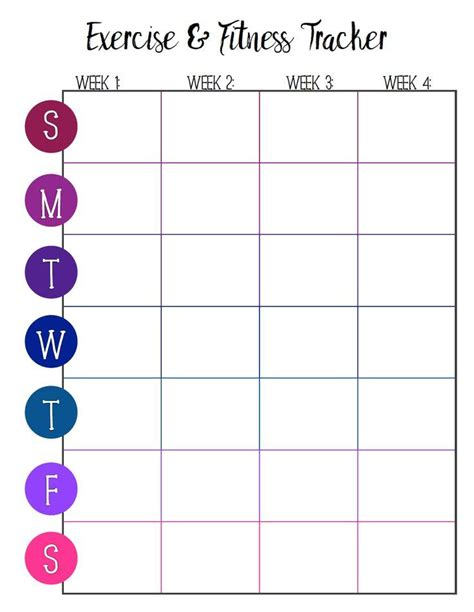 Diy Fitness Tracking Goal Template
