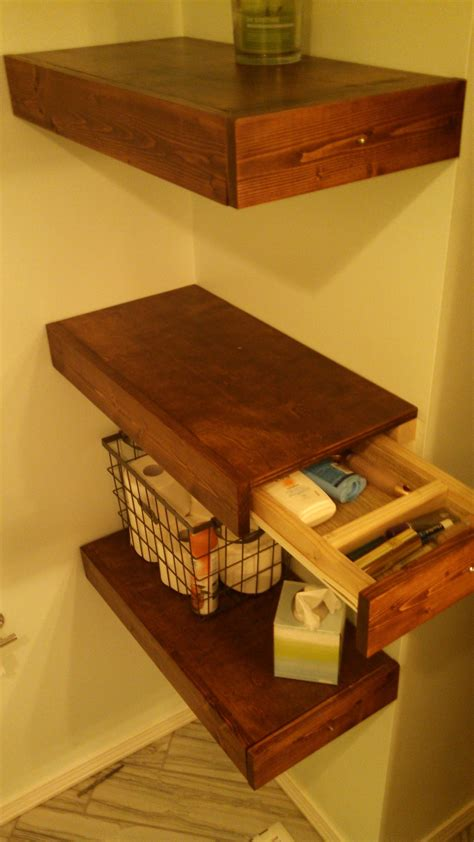 Diy Floating Shelf Nightstand With Drawer