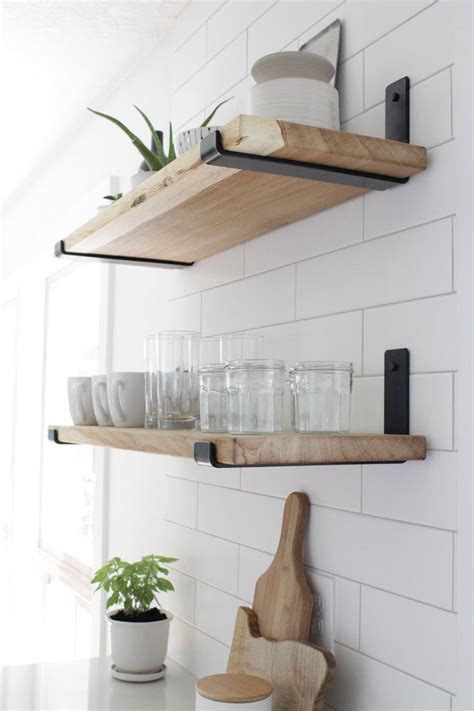 Diy Floating Wood Shelves Kitchen