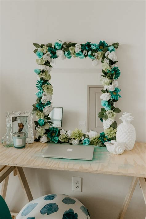 Diy Flower Mirror Frame