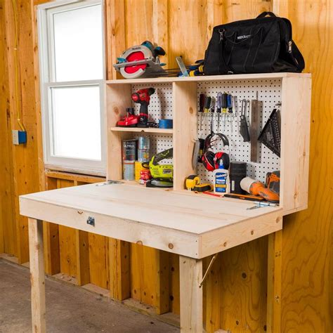 Diy Fold Up Work Bench In Shed