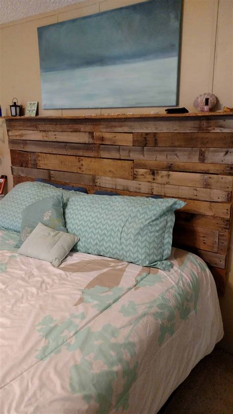 Diy Full Size Bed Pallet Headboard With Lights