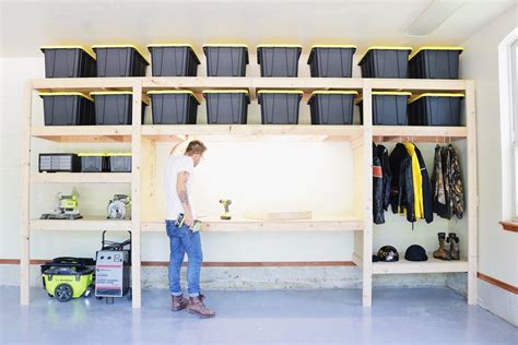 Diy Garage Storage Shelves And Table