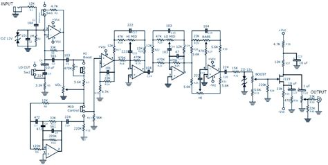Diy Guitar Or Bass Or Instrument Active Mixer Schematic