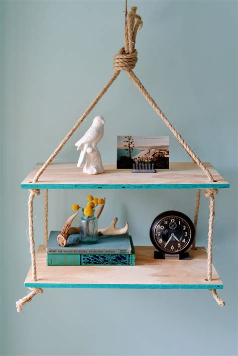 Diy Hanging Shelves Rope