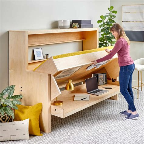 Diy Hideaway Bed Into Office Desk Plans