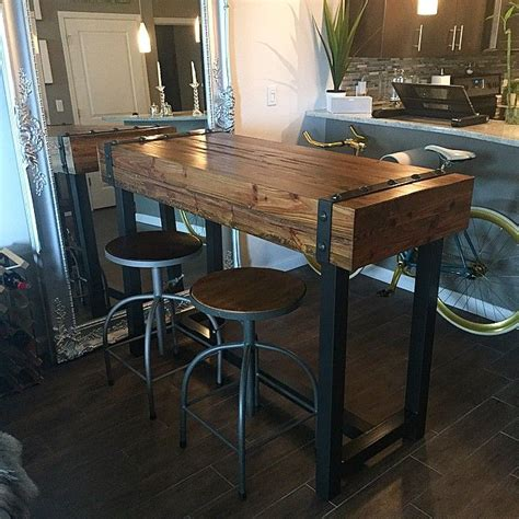 Diy Industrial Bar Height Table With Metal Top