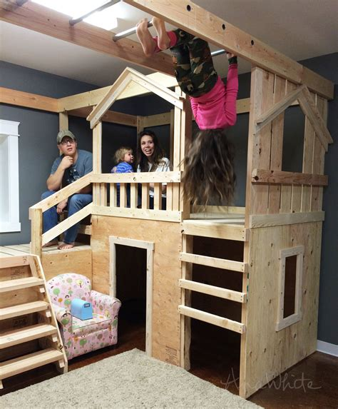 Diy Kids Bunk Bed With Monkey Bars Under