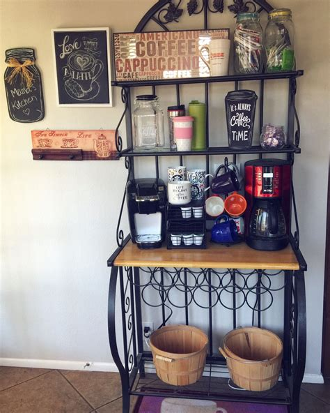 Diy Kitchen Bakers Rack Coffee Bar