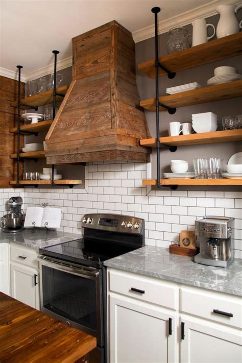 Diy Kitchen Shelves With Pipe And Wood