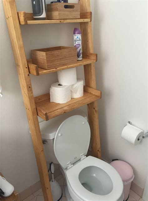 Diy Ladder Shelf Over Toilet
