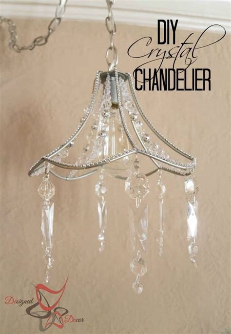 Diy Lamp Shade Chandelier With Crystal