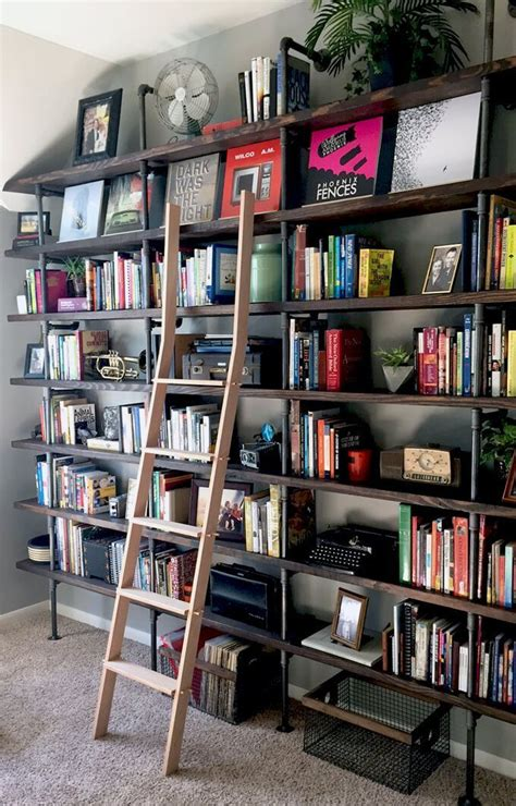 Diy Library Shelves And Ladder
