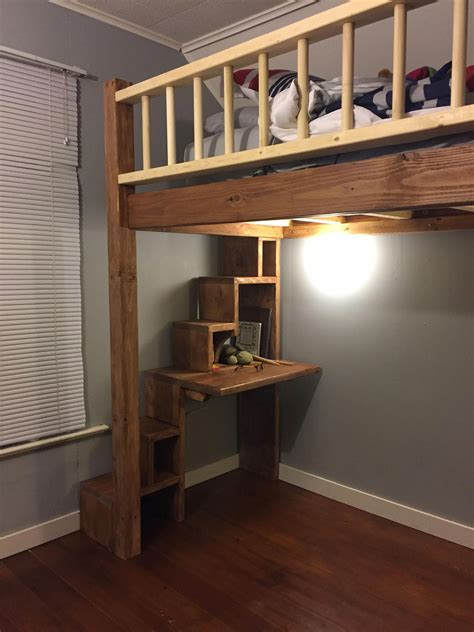 Diy Loft Bed Plans With Stairs And Desk