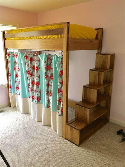 Diy Loft Bed With Storage Stairs