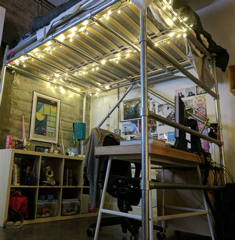 Diy Loft Bed Wood And Pipe