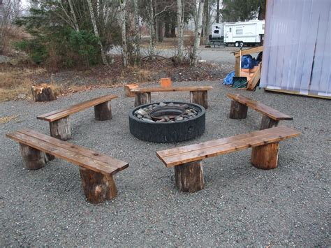 Diy Log Bench For Fire Pit
