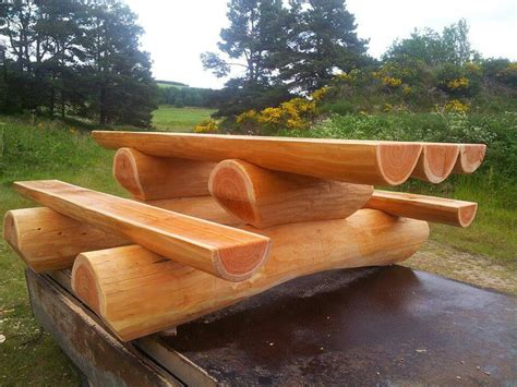 Diy Log Picnic Table