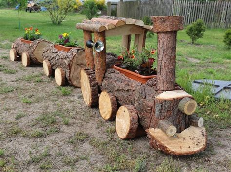 Diy Log Train Planter