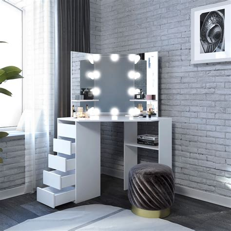 Diy Makeup Vanity Table With Lighted Mirror
