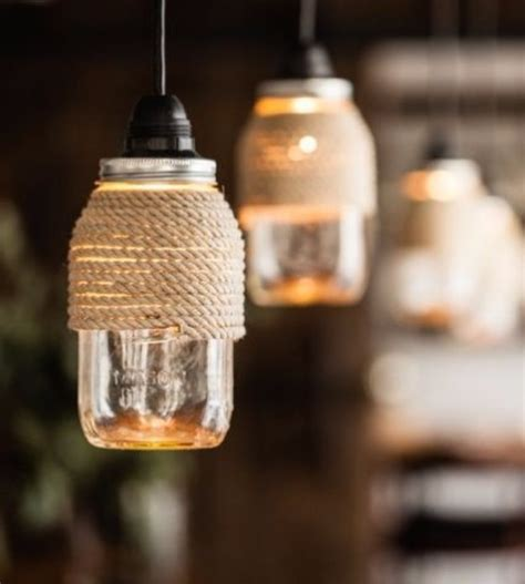 Diy Mason Jar Chandelier With Rope Lights