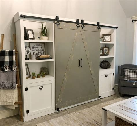 Diy Media Cabinet With Barn Doors