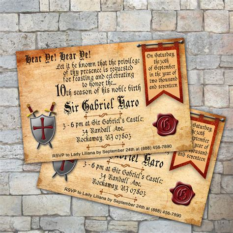 Diy Medieval Birthday Invitation