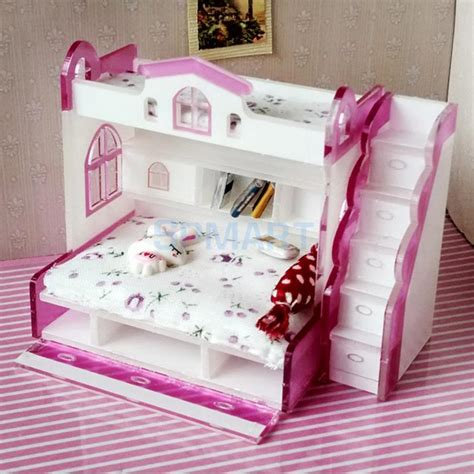 Diy Miniature Dollhouse Bunk Bed Bedroom Sets