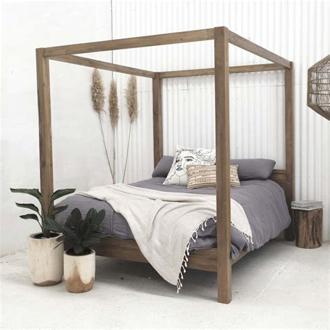 Diy Natural Wood Log Framed Canopies For Beds