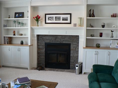 Diy Open Shelving Around Tall Stone Fireplace