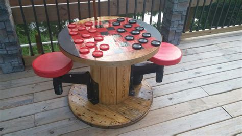 Diy Outdoor Checkers Table With Stools