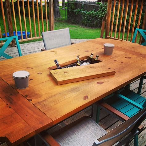 Diy Outdoor Dining Table With Cooler