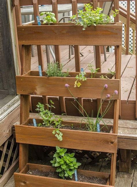 Diy Outdoor Herb Garden Using Wooden Crates