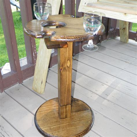 Diy Outdoor Side Table With Wine Glass Holder