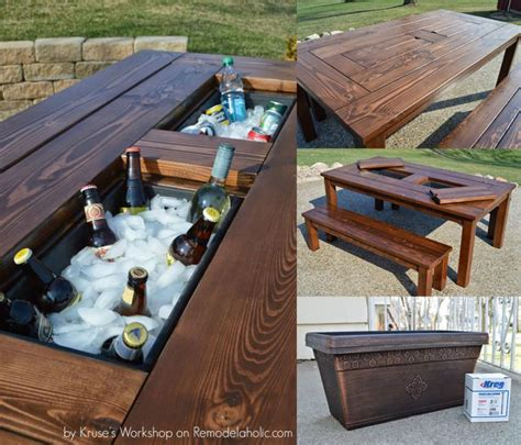 Diy Outdoor Table With Cooler Plans