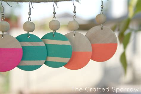 Diy Painted Wood Earrings Stretched