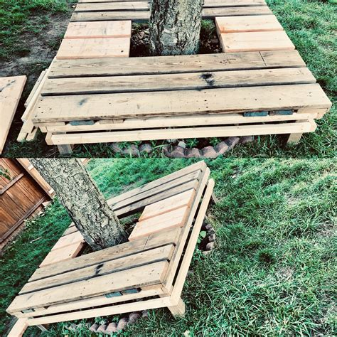 Diy Pallet Bench Around A Tree