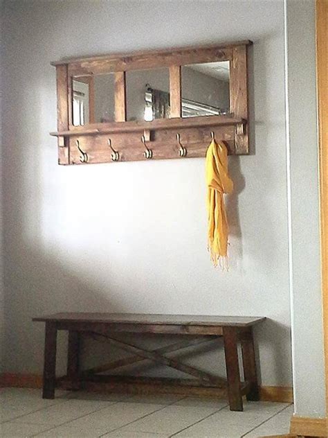 Diy Pallet Mirror Coat Rack