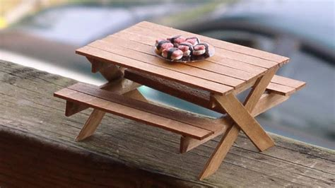 Diy Picnic Table And Bench Made Out Of Popsicle Sticks