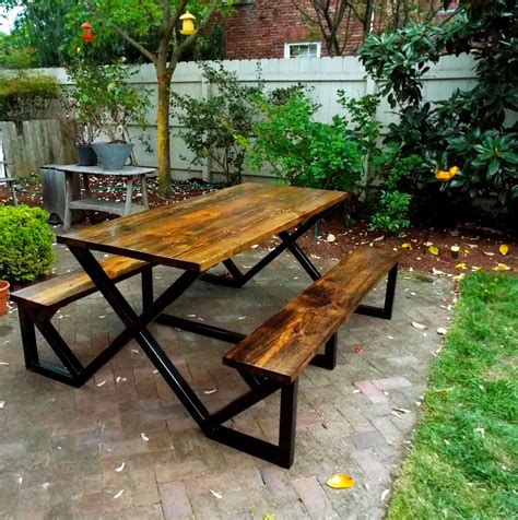Diy Picnic Table With Metal Frame