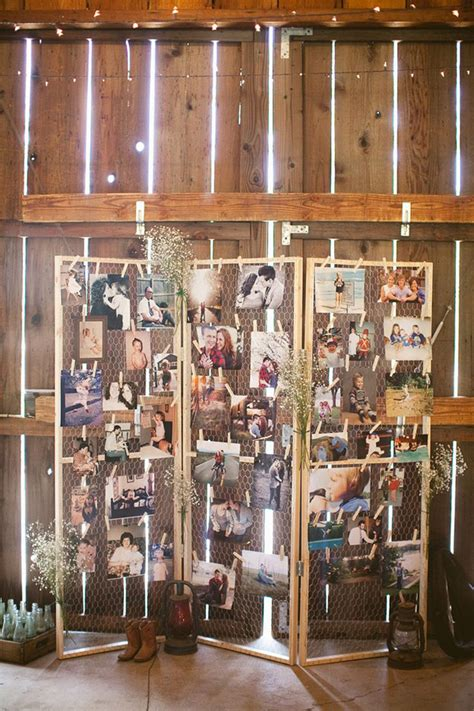 Diy Picture Display Rustic Wedding